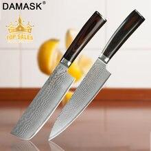 Damask Kitchen Knives Set 8 Chef 8Slicing 7 Santoku Chopping Professional Japan Damascus Steel Fish&Meat Knife