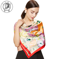 Ptah Women Accessories Print Hijab Charm Satin Silk Scarf Femme Luxury Brand Shawl Soft Thin Chiffon
