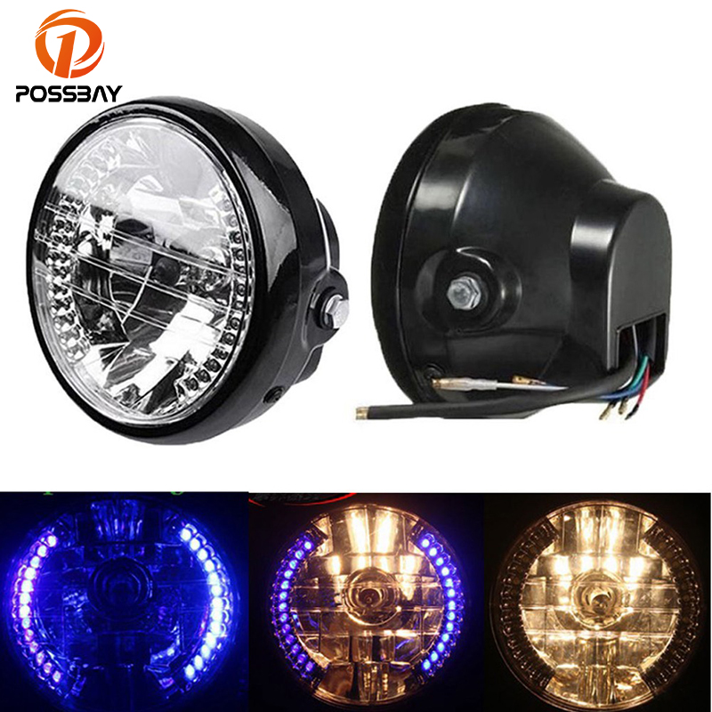 POSSBAY 6.3 Universal Motorcycle Headlight Turn Signal Moto Front Headlamp For Honda Yamaha Suzuki Kawasaki Harley Head Light