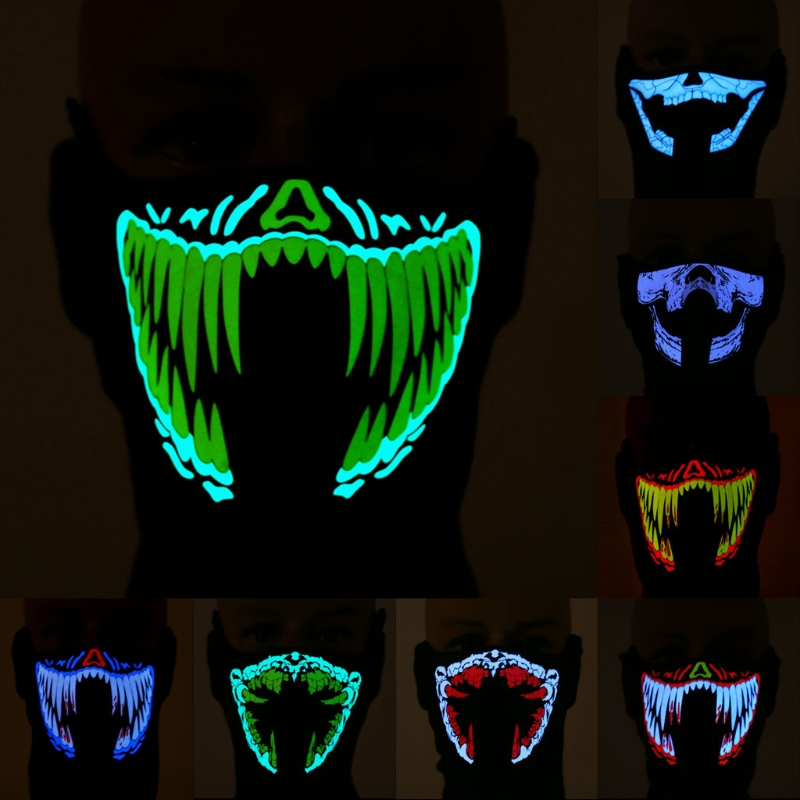 Super Cool Led Mask Luminous Skull Mask Maske Masque Horreur Halloween Decoration Craft Supplies