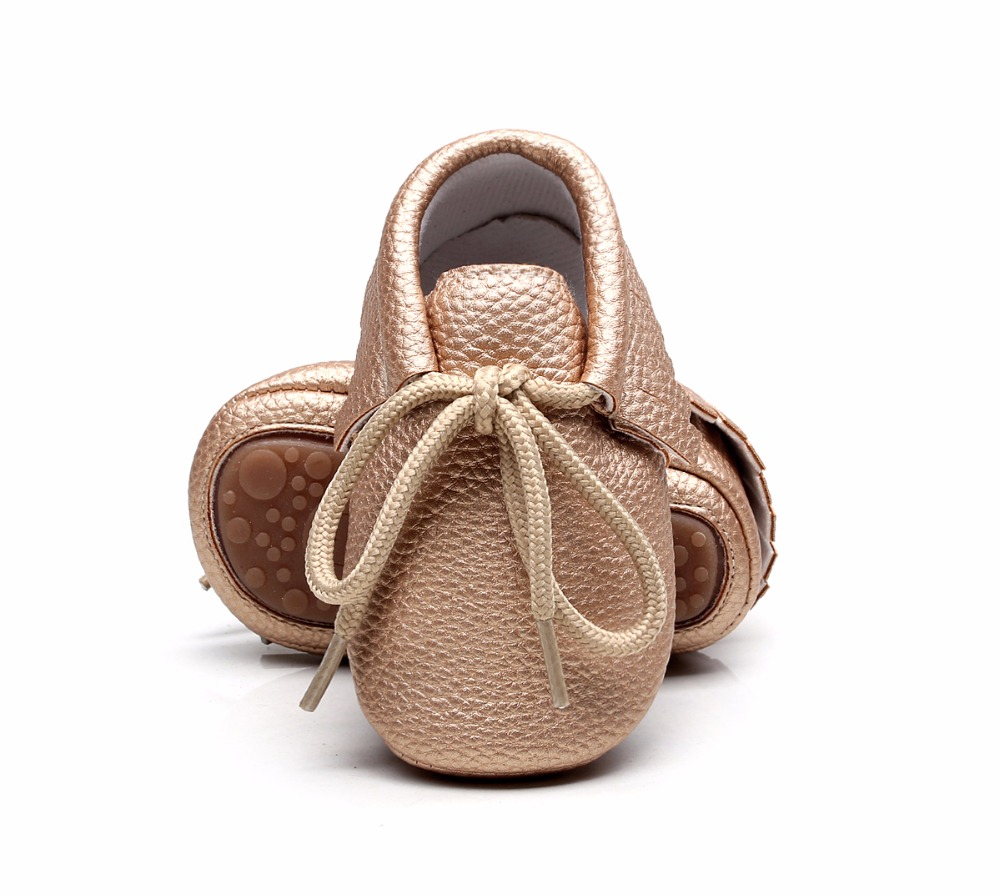 New candy colors Hard sole Newborn shoes lace-up brand Pu leather baby shoes girls fringe baby moccasins shoes 0-24 M
