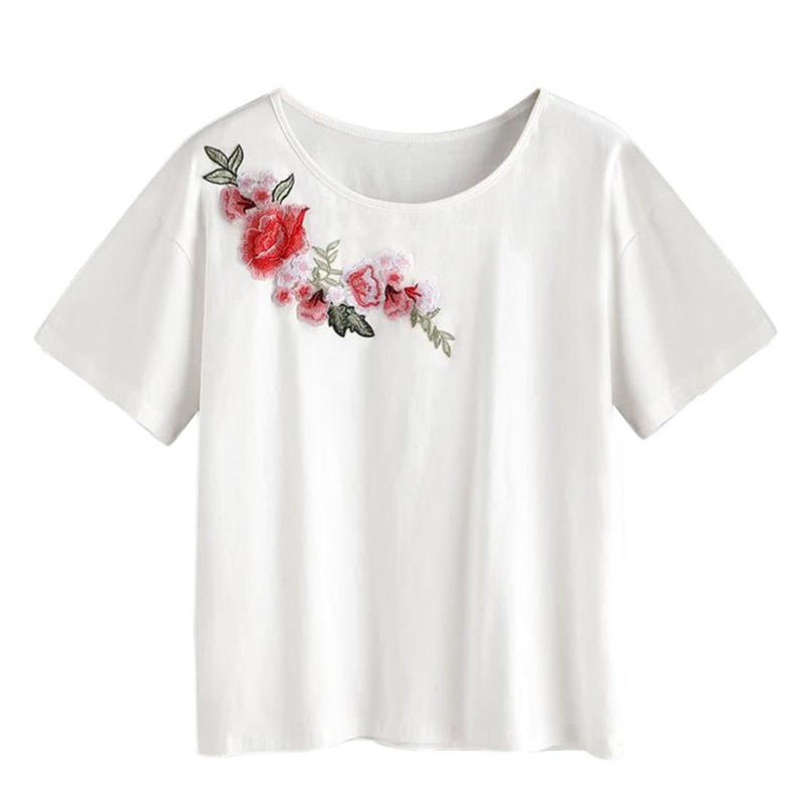 Women Appliques White Top O-Neck Short Sleeve T Shirt Plus Size 2018 Summer Lady Fashion Casual T-shirt S-XL Size #TH
