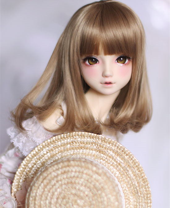 Light brown color pear curly <font><b>wigs</b></font> high temperature wire available for <font><b>1/4</b></font> /1/3 <font><b>dolls</b></font> <font><b>BJD</b></font> DD DY <font><b>doll</b></font> accessories <font><b>doll</b></font> <font><b>wigs</b></font> image
