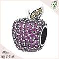 Marca de lujo púrpura de los encantos de plata de Ley 925 del grano de Apple Circón Encantos de la Hoja de Cristal Adapta DIY Pulseras cadena de la serpiente Europea
