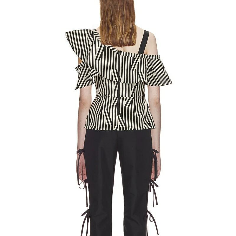 Di Off Estate Designer Nero bianco Sexy 2018 Camicie Camicetta Top Donne Righe Button Self Il Manica Femminili Ruffles Portrait Nuovo A Spalla Petalo Una vxO7HB