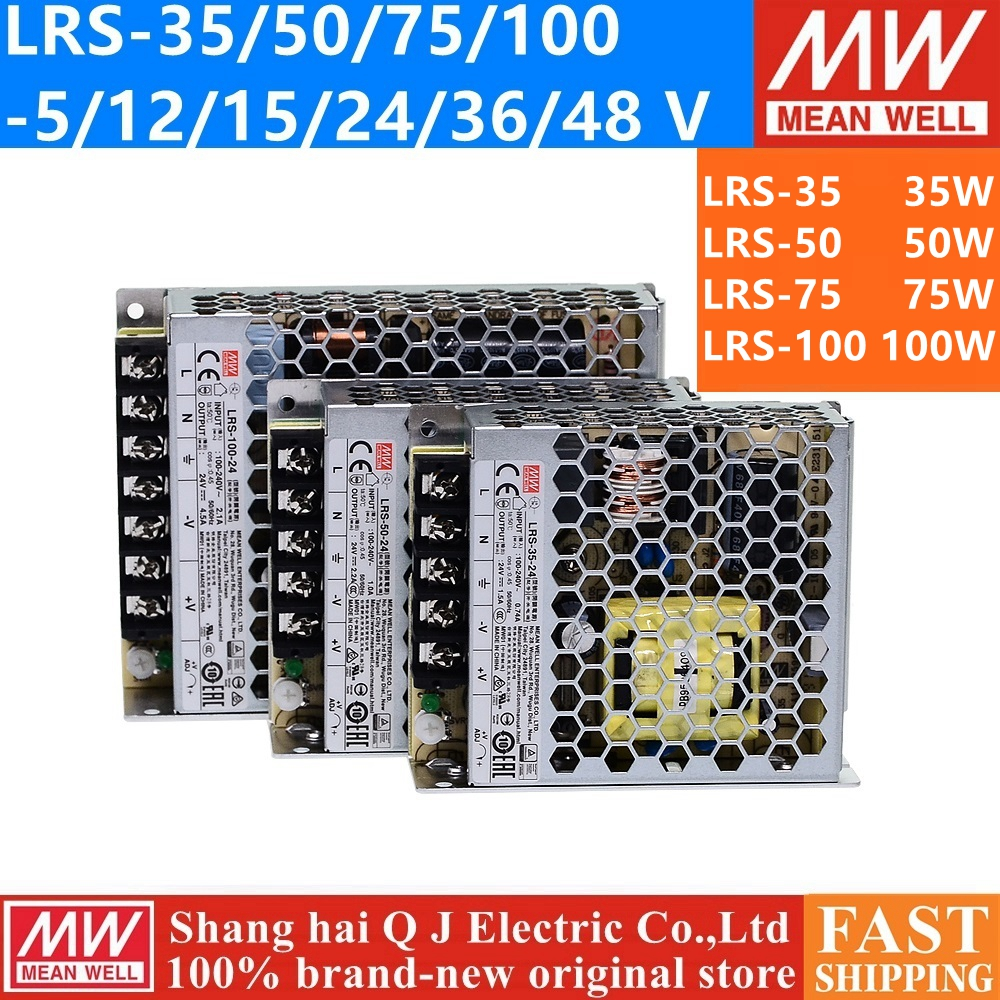 MEAN WELL LRS-35 50 75 100 W 3.3V 5V 12V 15V 24V 36V 48V Meanwell LRS-100 3.3 5 12 15 24 36 48 V 100W Switching Power Supply