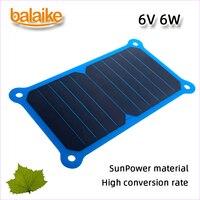 Balaike Sunpower battery solar charger 6W 5V Solar Panel Charger Mobile Power solar cells for mobile phone