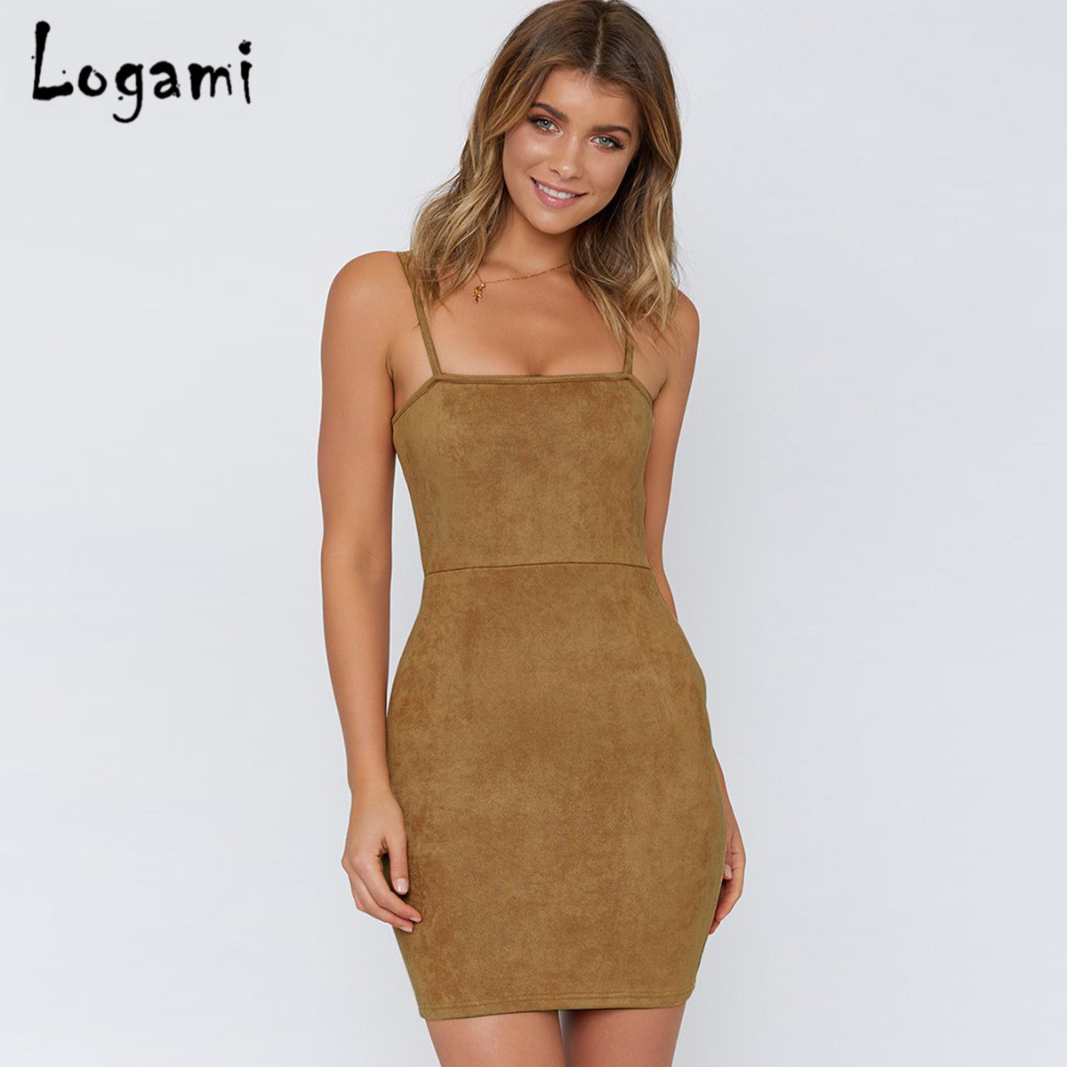6d16b07f30a LOGAMI Sleeveless Sexy Suede Summer Dress Women 2018 Bodycon Mini Dresses  Ladies Elegant Party Dress
