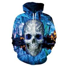 50344308a Caliente con capucha azul 3D cráneo Sudaderas hombres mujeres moda invierno  primavera ropa deportiva hip hop