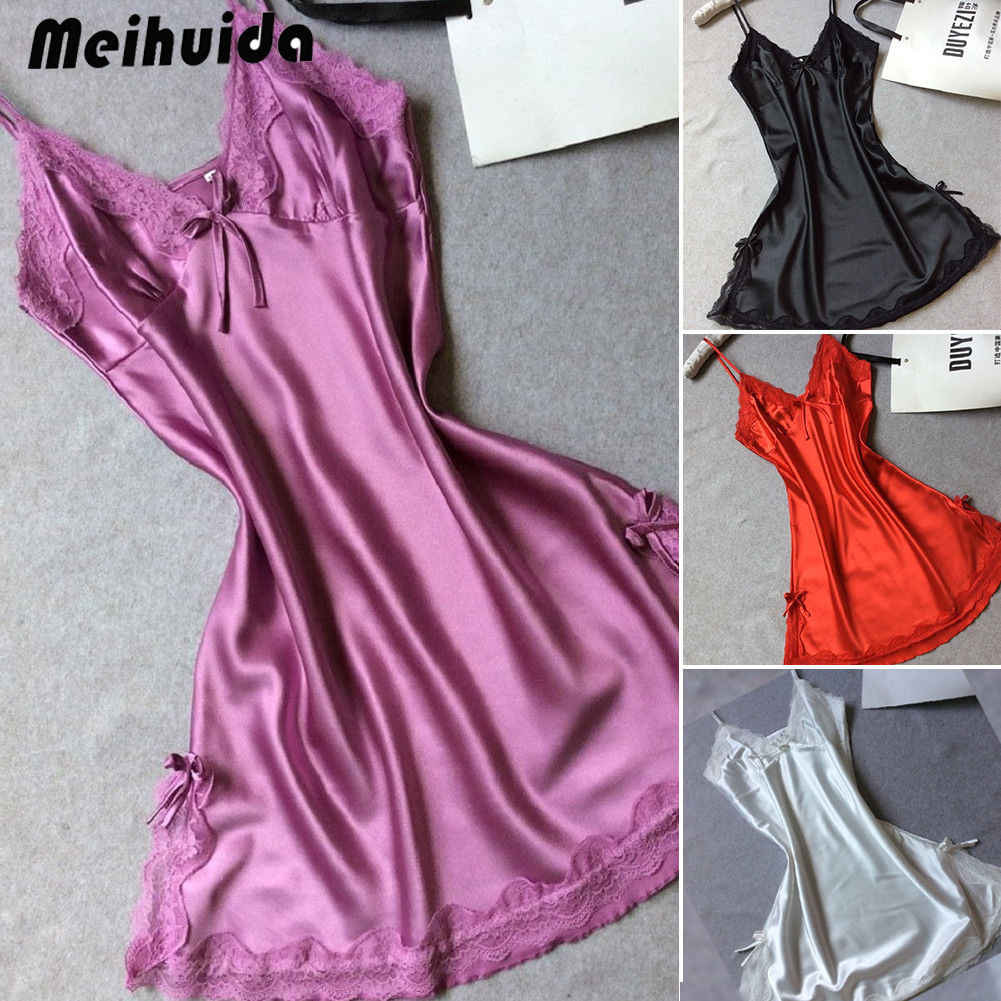 a0eae69a71 Women Sexy Lingerie Sleepwear Satin Silk Lace Robes Summer sleeveless  Ladies Sleep Dress