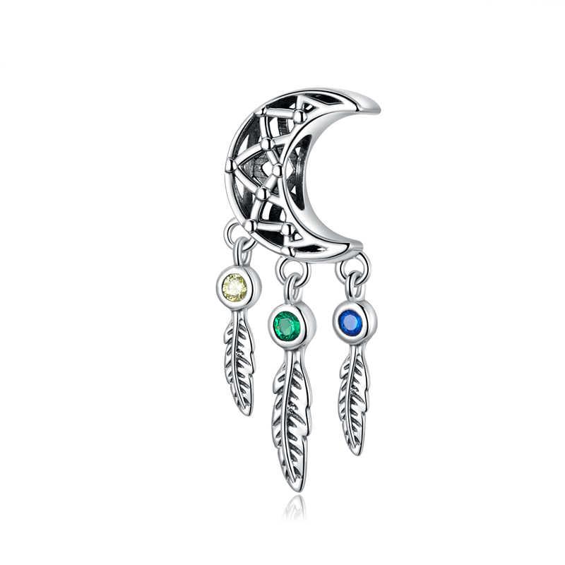 WOSTU 100% prawdziwe 925 srebro łapacz snów Charms Fit oryginalna bransoletka bransoletka wisiorek naszyjnik z koralikami do tworzenia biżuterii