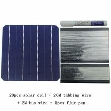 DIY Kit Painel Solar 20 Pcs Monocrystall 6x6 Célula Solar Com 20 M Tabulação Fio 2 M Barramento fios e 1 Pcs Flux Pen