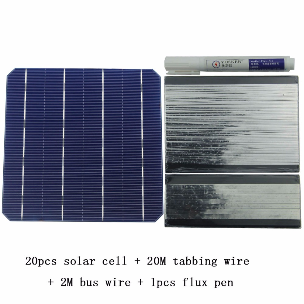 DIY Solar Panel Kit 20Pcs Monocrystall Solar Cell 6x6 With 20M Tabbing Wire 2M Busbar Wire and 1Pcs Flux Pen 1m x 12m solar panel eva film sheet for diy solar cells encapsulant