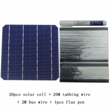 DIY Solar Panel Kit 20Pcs Monocrystall Solar Cell 6×6 With 20M Tabbing Wire 2M Busbar Wire and 1Pcs Flux Pen