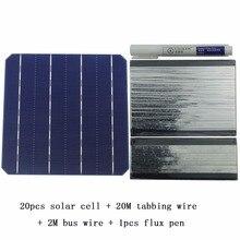 Kit de Panel Solar DIY 20 piezas celda Solar monocristalina 6x6 con cable de tabulación de 20 M, cable de barra colectora de 2M y 1 Uds Lápiz de soldadura