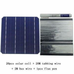 Image 1 - Kit de Panel Solar DIY 20 piezas celda Solar monocristalina 6x6 con cable de tabulación de 20 M, cable de barra colectora de 2M y 1 Uds Lápiz de soldadura