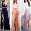 2017 Hot High Split Long Maxi Satin Skirts Women High Wasit Empire Maxi Skirts Free Shipping Sexy Women Long Satin Skirt