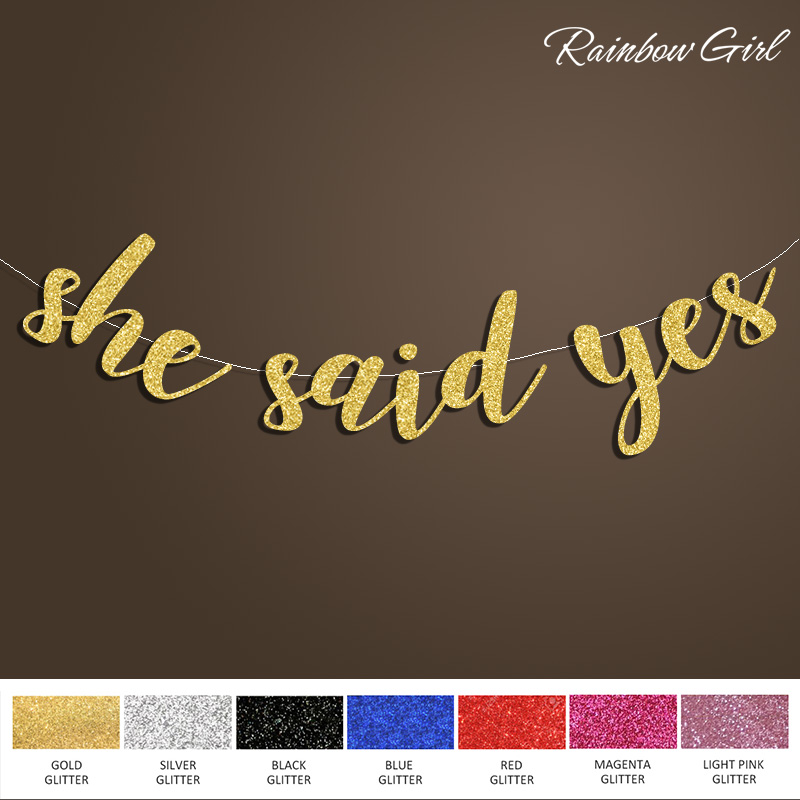 She Said Yes Banner,Bridal Shower Sign Backdrop,Anniversary/Engagement Gold/Silver Glitter Wedding Party Decorations Supplies