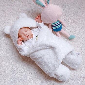 91a1d05cf 0-6 meses más blanco bebé manta abrigo doble capa de lana bebé swaddle bebe  sobre saco de dormir para recién nacidos Bebé Ropa de cama Manta