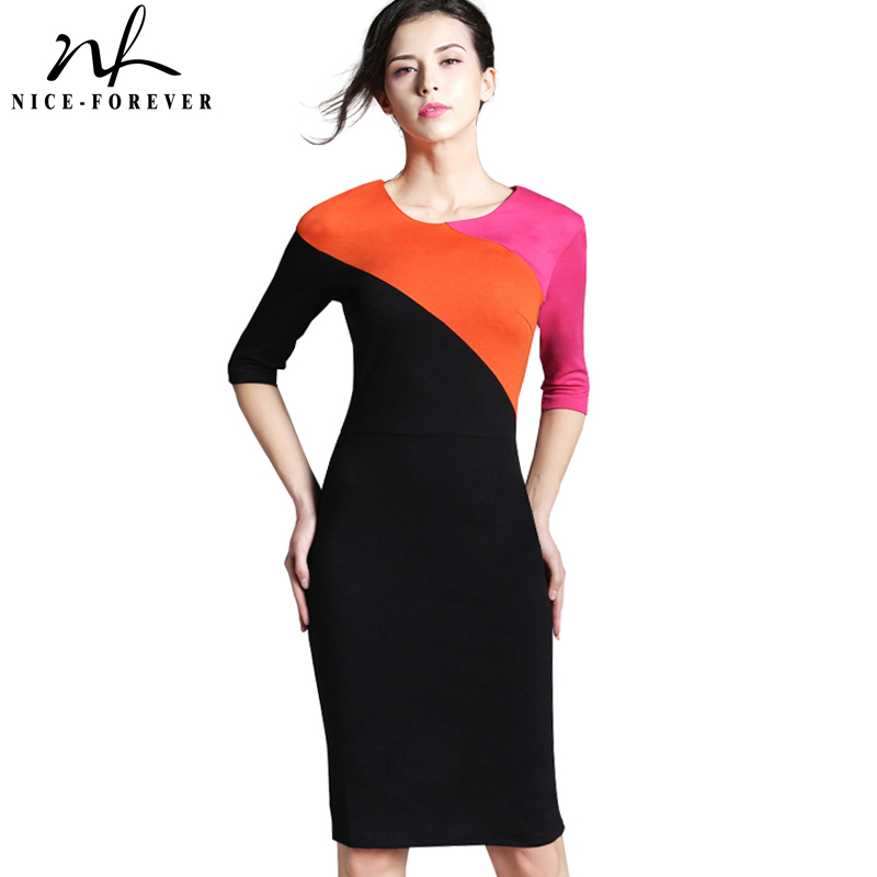 Nice-forever Spring Vintage Formal Patchwork O-neck Office Lady Wear for  Work Bodycon