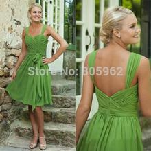 Cheap Short Royal Blue Green Formal Dresses 2016 Sheer Vintage Knee Length Bridesmaid Dresses Formal Bridesmaids Party Gown B6