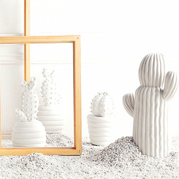 Cactus Echinopsis Tubiflora Statue Simulation Flower Pot Ceramic Craftwork Office Show Window Living Room Decoration L2784 фото