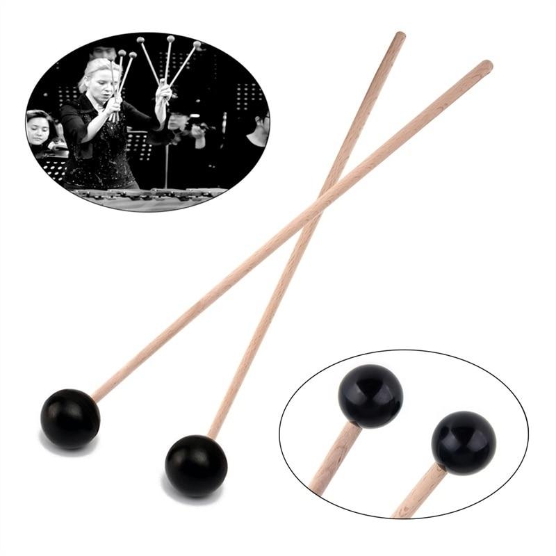 1 Pair Hardwood Rubber Head Glockenspiel Xylophone Mallets /Stick/Beaters Sound Marimba Instruments Part Rubber Mallets