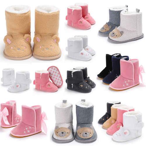 Newborn Baby Toddler Boys Girls Cartoon Animals Anti-Slip Boots Warm Winter  Booties Slippers Soft b38759b28556