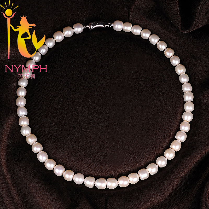 NYMPH Freshwater Pearl Necklace Pearl Jewelry Real White 9-10mm Fine Choker Necklace For Women Party Gift X107 [nymph ]natural pearl necklace pearl jewelry white freshwater choker necklace trendy for wedding party fine jewelry x120