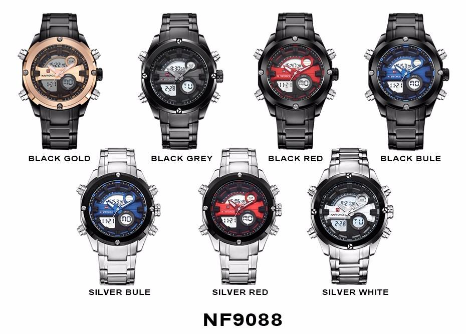 Top Luxury Brand NAVIFORCE Men Full Steel Sport Watches Men's Quartz Analog LED Clock Man Military Wrist Watch Relogio Masculino 14