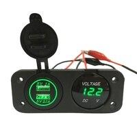 DC 12V 24V LED Digital Voltmeter Dual USB Outlet Power Socket Panel 2 1A 1A Charger