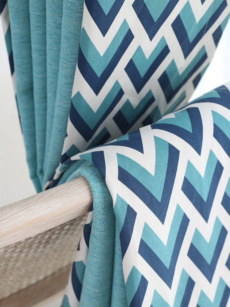 Sur mesure français fenêtre rideau couverture Dressing Ins vague européenne géométrique 2 m x 2.6 m 2 pièces lac bleu kaki gris - 6