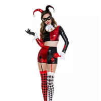 Amazing Harley Quinn Costume Cosplay Adult Women Halloween Sexy Role Playing Party Fancy Dress Female Carnival Clown Outfit