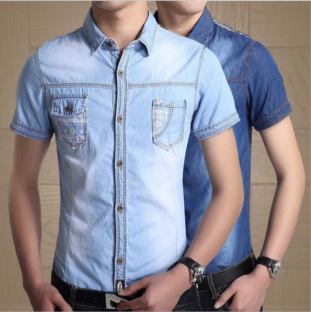 e1b908407c4 Men Denim Shirts New Mens Jean Shirts Casual Short Sleeved Luxury Stylish  Wash Slim Fit Shirts With Two Pockets Plus Size 3XL