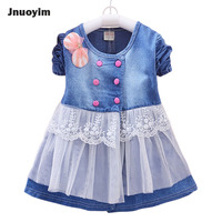 Cute Lace Design Children Dresses Jean Denim Blue Design Princess Girls Dress Pink Polka Dot Buckle