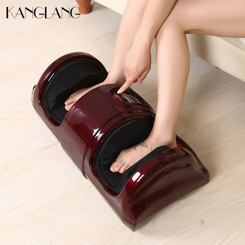 KANGLANG Electric Antistress Muscle Release Therapy Rollers Shiatsu Gua Sha Heat Reflexology Leg Foot Massager Machine Device kanglang 4d multi function electric foot massager circular massage airbags heat scrap leg machine old man leg massager device