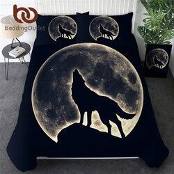 BeddingOutlet Beddengoed Set Huilende Wolf Dekbedovertrek Met Kussenslopen Night Moon Bed Set 3pcs Dier Zwart Beddengoed Beddengoed