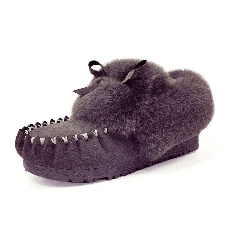 fcb5ff395b574 argent Confortable Noir gris Casual Famale Cheville Hiver rose Chaussures  Nouveau De Bottes Fourrure D hiver ...