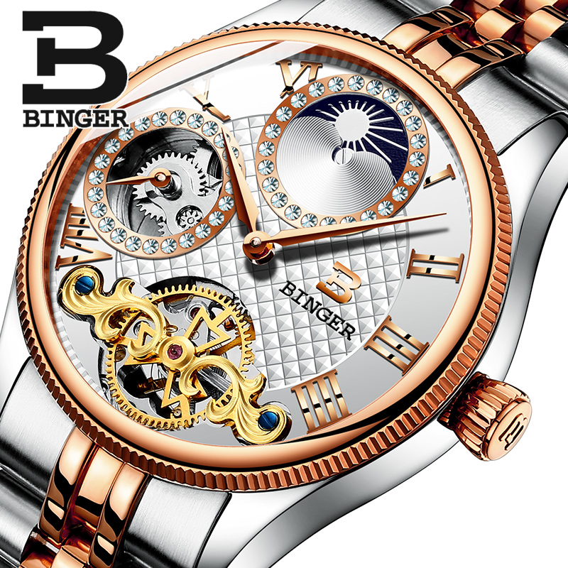 Genuine Luxury Switzerland BINGER Brand Men Self-wind waterproof full steel automatic mechanical male table Moon Phase watch switzerland watches men luxury brand men s watches binger luminous automatic self wind full stainless steel waterproof b5036 10