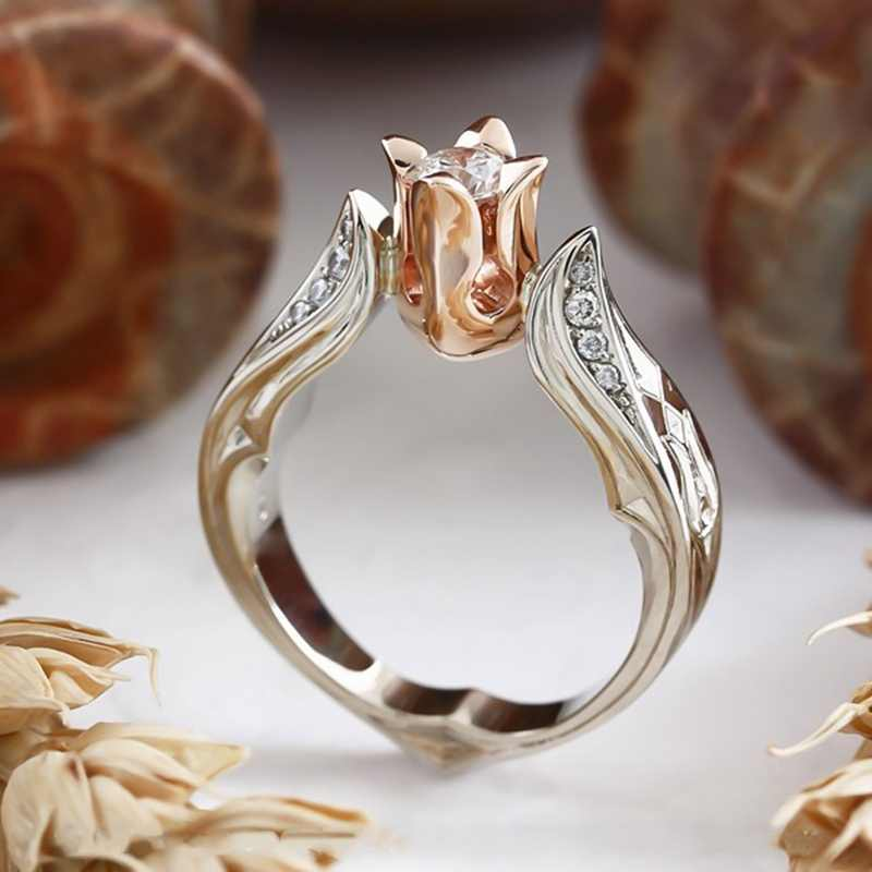 Rose Gold Color Rose Flower Leaves Finger Rings For Women Valentine's Day Gift  Flower  Wedding  Jewelry Gold Rose Floral Ring