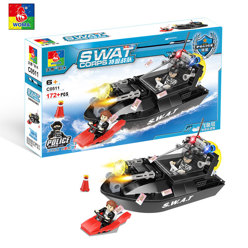 WOMA Blocks Military Blocks Sets SWAT Corps Assault Patrol Boat Ship Military Bricks Figure Toys Police Building Blocks C0511 image