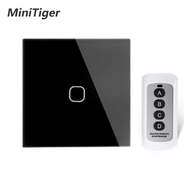 Minitiger EU/UK Standar 1 Gang 1 Way Remote Switch, AC 170 ~ 240V Lampu Dinding Remote Touch Switch dengan Mini Remote Controller