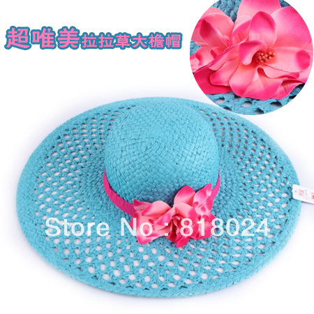 Caliente de La Manera Azul de la Mujer Plegable Grande Ancho Brim Floppy Summer Beach Sun Sombrero de Paja con La Flor Del Envío Libre