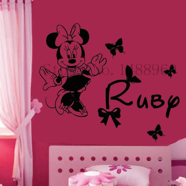 E741 Personalise custom Name Wall Stickers Home decor DIY poster Decal mural Decoration Removable Design inspired Minnie girls