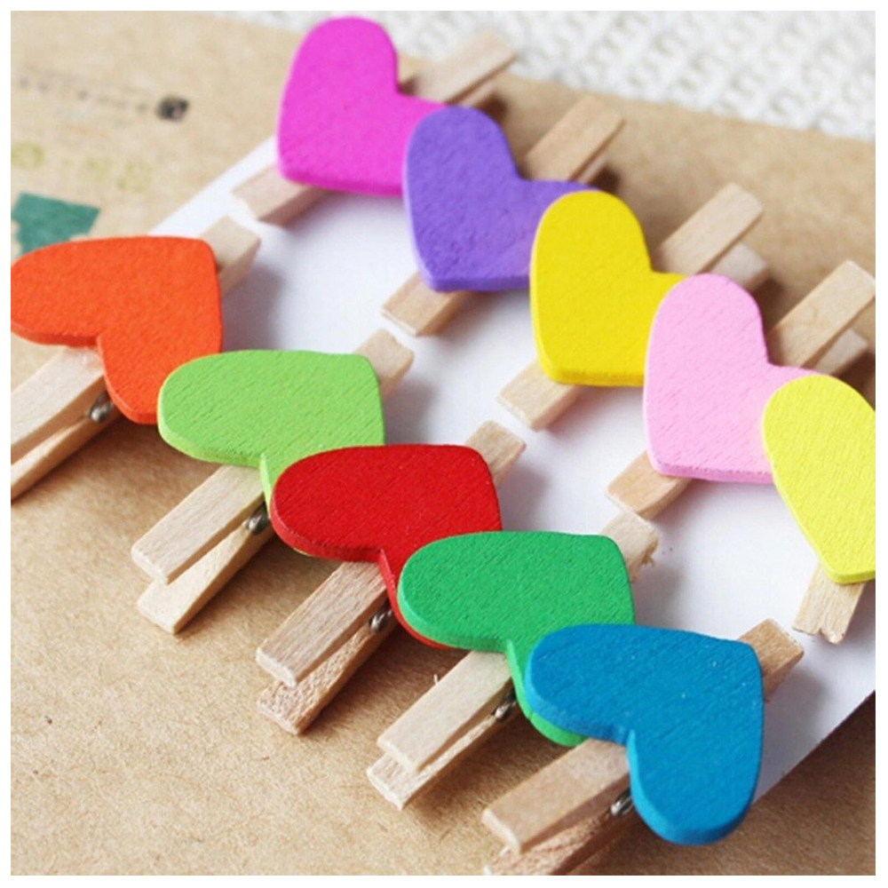 Mini Sweet Love Heart Shape Wooden Clips Message Photo Holder Card Paper Pegs Decor Photography Random Color(20 Pcs)