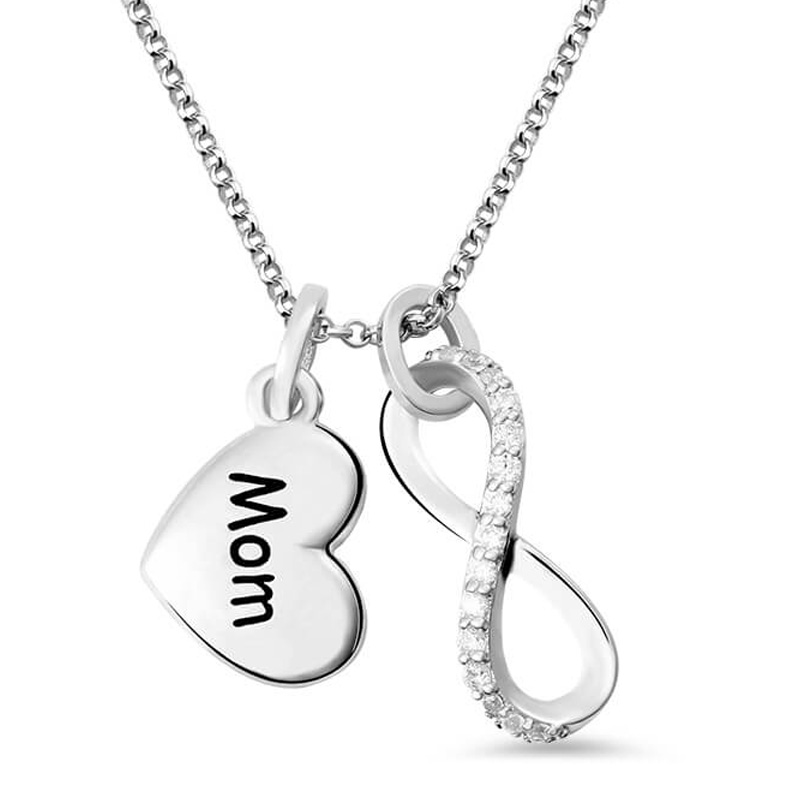 Women's Infinity Pendant Name Necklace Custom Letter Love Heart Charm Necklaces with Crystal Sterling Silver Chain Gift for Mom necklace love imitation silver chain letter personality clavicle 925 sterling silver paved rainbow cubic zirconia love necklaces