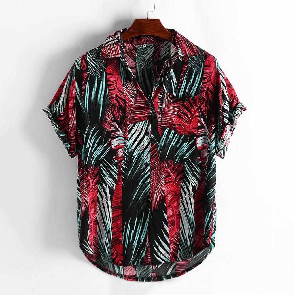 남성 셔츠 여름 스타일 프린트 비치 하와이 그린 캐주얼 셔츠 남성 캐주얼 반소매 하와이 셔츠 camisa masculina Men Shirt