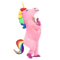 Rainbow Unicorn Inflatable Costume Cosplay Pony Halloween Costumes for Women Men Cosplay Fantasia Party Inflatable Suit Jumps