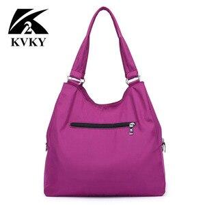 Image 4 - Популярная женская сумка, повседневная большая сумка на плечо, нейлоновая сумка тоут от известного бренда, фиолетовые сумки для мам, водонепроницаемые сумки черного цвета