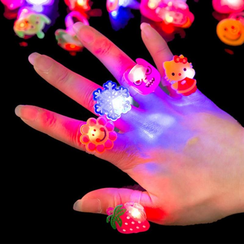 5pcs Stars Shine In The Dark Kids Luminous Rings New Childrens Toys Flash LED Cartoon Lights Glow for Child